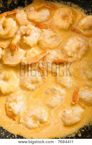 Tiger Prawns Being Cooked In Sauce In Pan