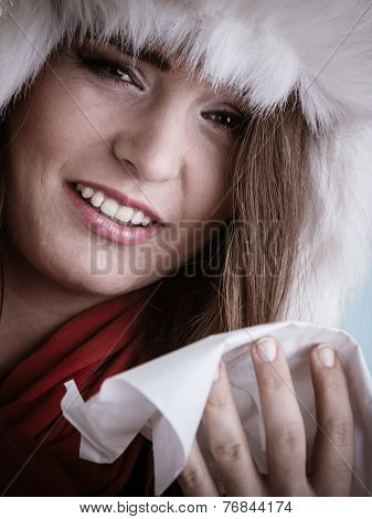 Sick Woman With Fever Sneezing In Tissue. Winter Time.
