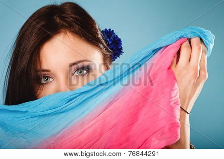 Woman Makeup On Eyes Hiden Her Face With Shawl