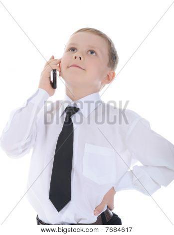 Kleinunternehmer telefonieren.