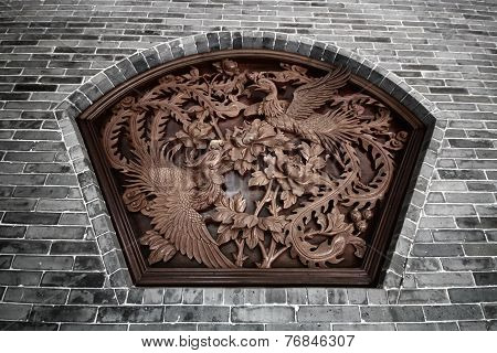 Wall Sculpture of two flying chinese swans surround with flowers