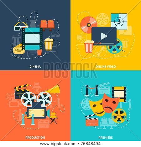 Cinema flat icons composition