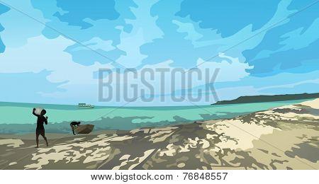 Beach Landscape, vector eps10 illustration