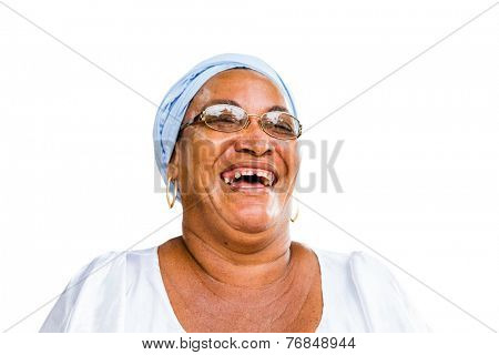 A Brazilian woman of African descent, smiling, wearing traditional clothes on white background