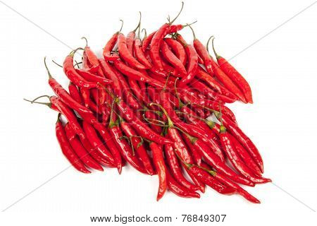 Collection Of Bright Red Shiny Hot Chillies