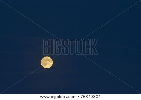 Full Moon Over Dark Blue Sky.