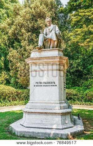 VENICE, ITALY - JULY 7, 2007: Monument Pietro Paleocapa in Papadopolia garden in Venice. Paleokapa (born 11/11/1788 Province of Bergamo - died 02/13/1869, Turin) - Italian engineer and politician