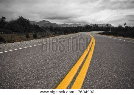 Yellow Dividing Line Of Highway