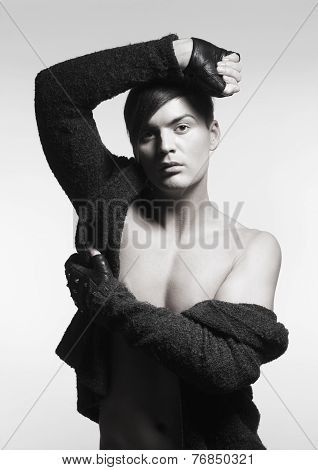 Trendy Young Man With Gloves