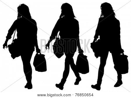 Silhouette of woman with packages on white background