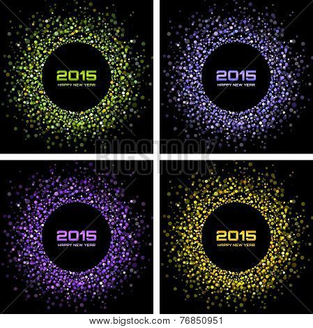 Set of  Colorful Bright New Year 2015 Backgrounds