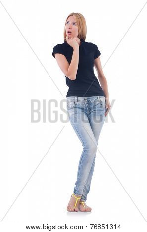 Emotional woman isolated on the white