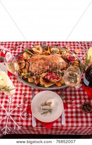 Turkey on CHristmas decorated table