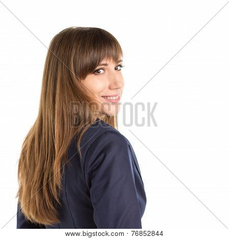 Young Happy Business Woman Glancing Over Shoulder