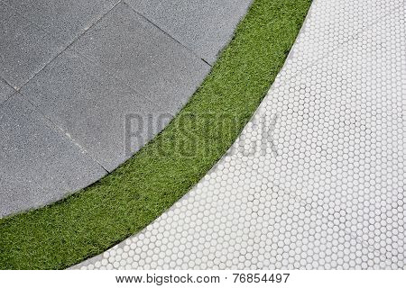 Walking Foot Path With Green Grass And Tiles Background Texture