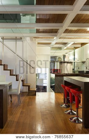 Architecture, wide loft with modern furniture, detail