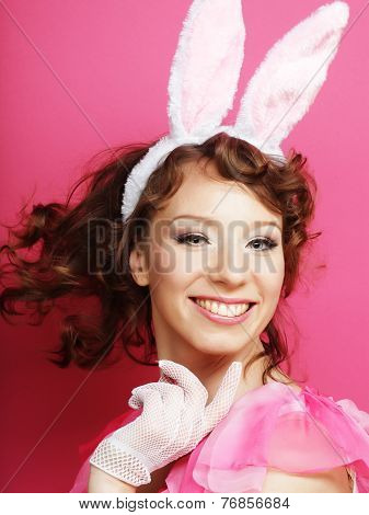 Sexy Woman with Bunny Ears. Playboy Blonde.