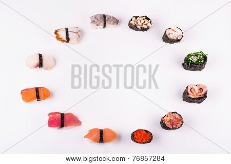 set of different sushi