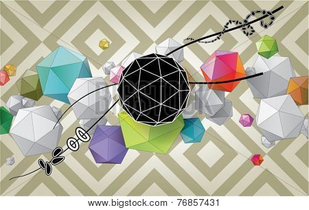 Color abstract composition from geometric shapes