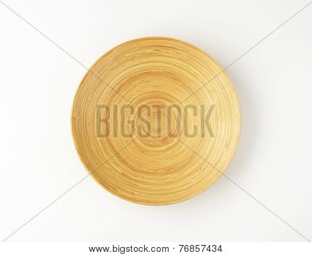 empty wooden bowl on white background