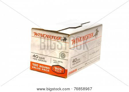 Hayward, CA - November 23, 2014: Box of Winchester40 S&W Caliber 165 Grain Full Metal Jacket Cartridges