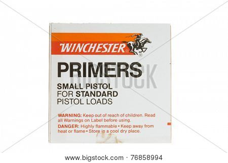 Hayward, CA - November 23, 2014: Box of Winchester Small Pistol Primers