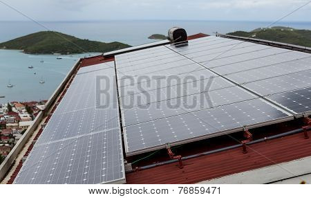 Solar Panels On Tropical House.