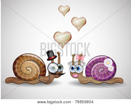 Isolated funny female and male snails.