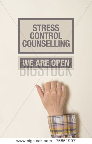 Hand Is Knocking On Stress Cotrol Counselling Door