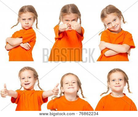Little girl. Child on white background. Collage