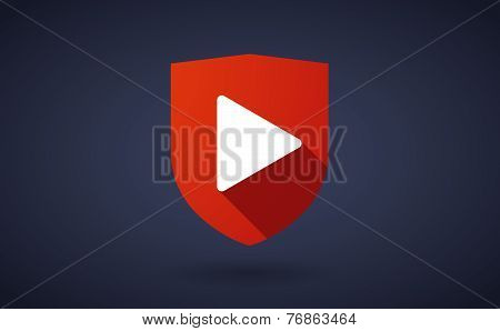 Long Shadow Shield Icon With A Shopping Bag