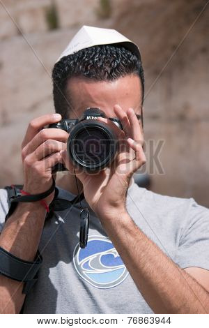 Jerusalem, Israel - March 14, 2006: Man With A Camera, Take Pictures Near The Wailing Wall.