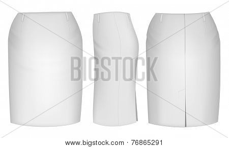 Ladies skirt for business women (front, back and side views). Formal work wear. Vector illustration.