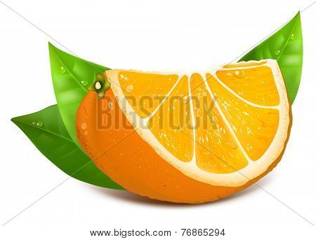 Fresh ripe orange with green leaves and water drops. Vector illustration.