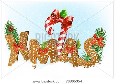 Christmas snow background with Gingerbread cookies. Vector illustration