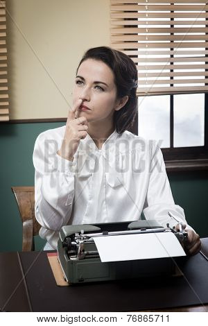 Pensive Secretary With Typewriter