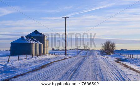 Silo's near country road in winter