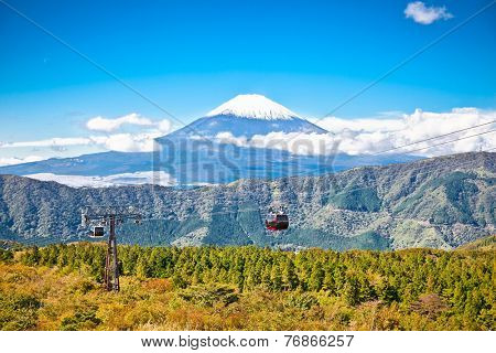 Ropeway and view of Mountain Fuji from Owakudani, Hakone. Japan.