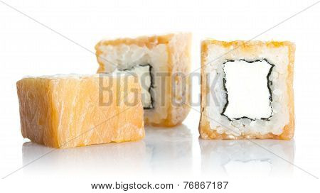 Sushi Roll With Salmon And Chees Philadelphia Isolated On White Background