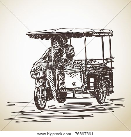 Sketch of tricycle motorbike Hand drawn vector illustration