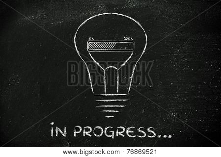 Funny Lightbulb With Progress Bar Inside, Innovation And New Ideas Loading