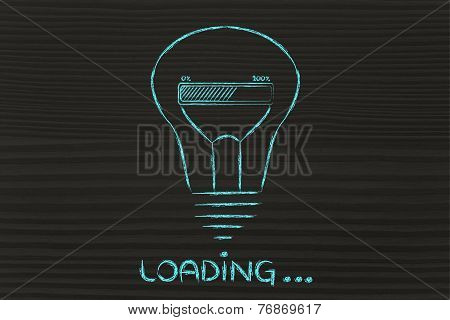 Loading: Lightbulb With Progress Bar Inside, Innovation And New Ideas Loading