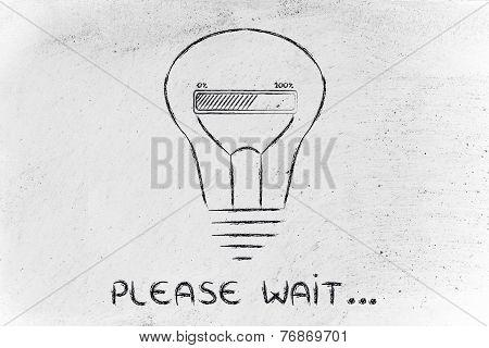 Please Wait: Lightbulb With Progress Bar Inside, Innovation And New Ideas Loading