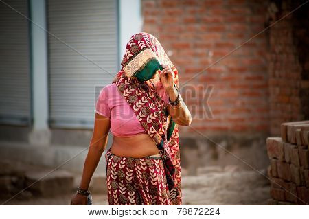 Indian villager woman in veil
