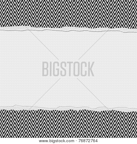 Black And White Chevron Frame With Torn Background