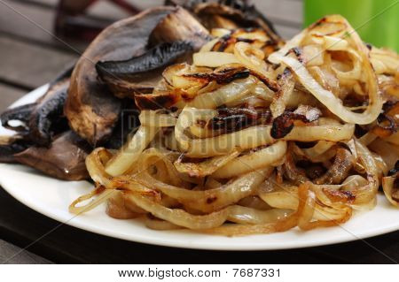 Plate Of Barbequed Onion And Mushroom