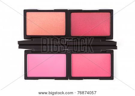 Colorful blush palettes isolated on white