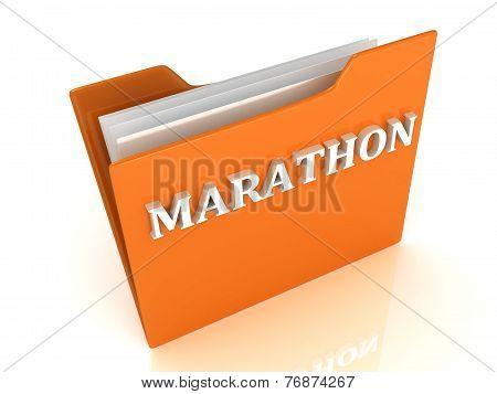 Marathon Bright White Letters On A Orange Folder