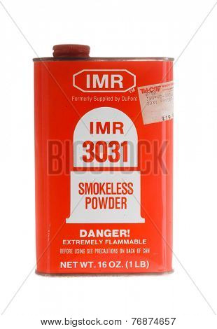 Hayward, CA - November 23, 2014: Metal container of IMR 3031 gunpowder