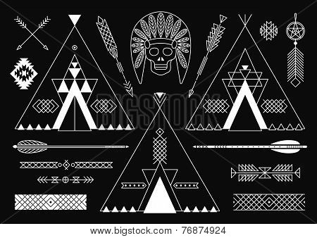Collection of Native American tribal stylized elements for design.